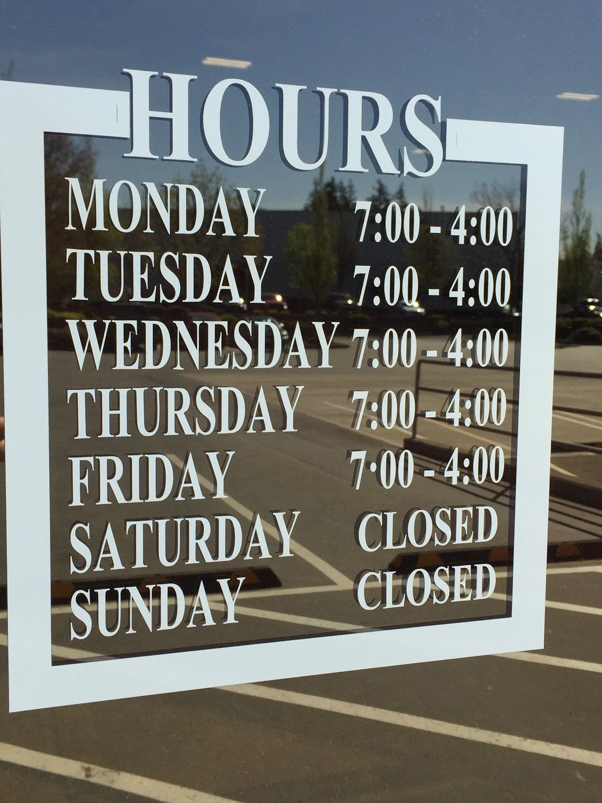 Oregon Breakers Window Sticker Showing Hours Of Operation VM - Window stickers for business hours