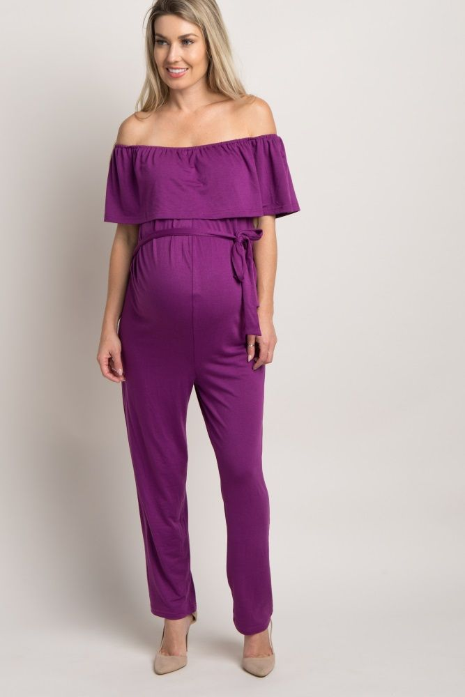 Purple Sash Tie Off Shoulder Ruffle Maternity Jumpsuit | Ropa para ...