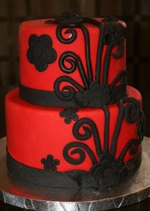 Beautiful red with black tiered cake fantastic 18th birthday cake