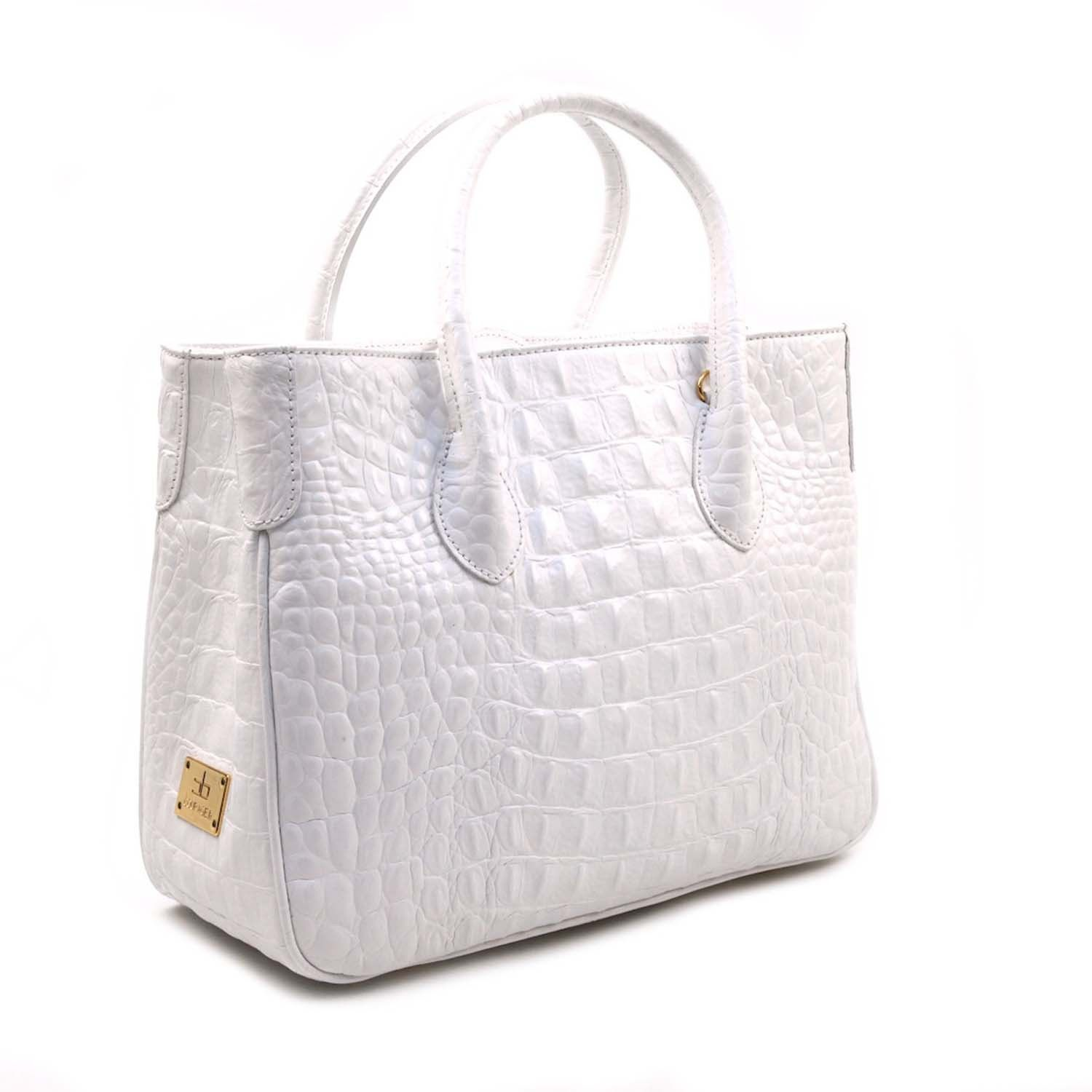 Small Croc Embossed Bag In Bianco
