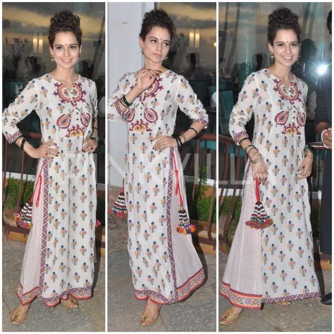 3df72a6ecee5ef kangana-in-palazzo-pant-kurta Indian Celebrities in Palazzo Pants-19 Ways  to Wear Palazzo Like Them