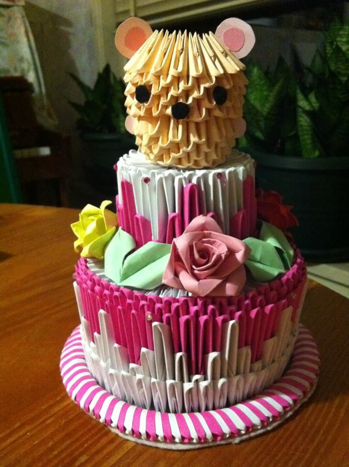 Awesome 3D Origami Birthday Cake With Images Cake Origami 3D Origami Birthday Cards Printable Trancafe Filternl