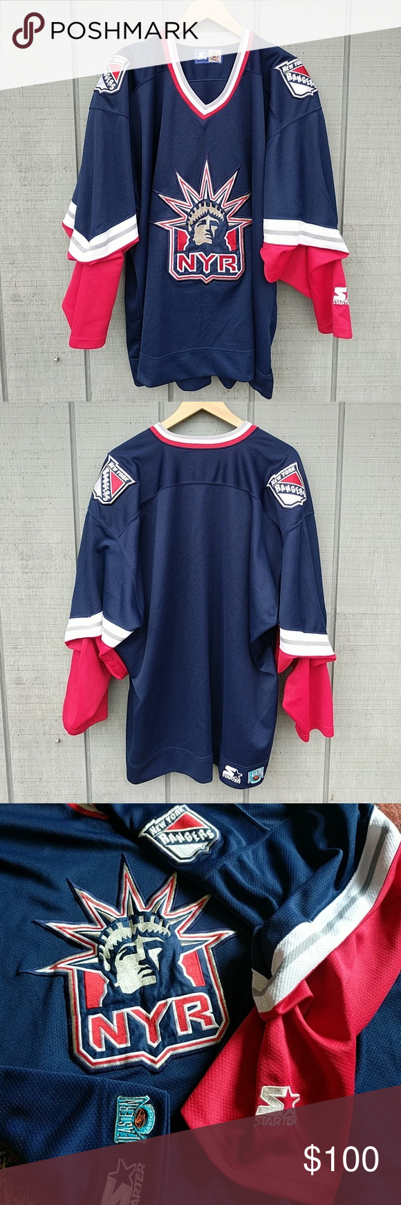 best service 14a7f deae8 Rare New York Rangers Lady Liberty Jersey XL Auth NHL New ...
