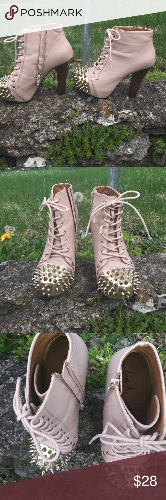 Flesh toned lace up booties with chunky heels 👠 So hot! A little bit of wear and tear but not noticeable. A few spikes missing on very bottom. Nick as shown in one of last pics. Broken shoe string but doesn't effect wearability as you can see. Quipid Shoes Ankle Boots & Booties