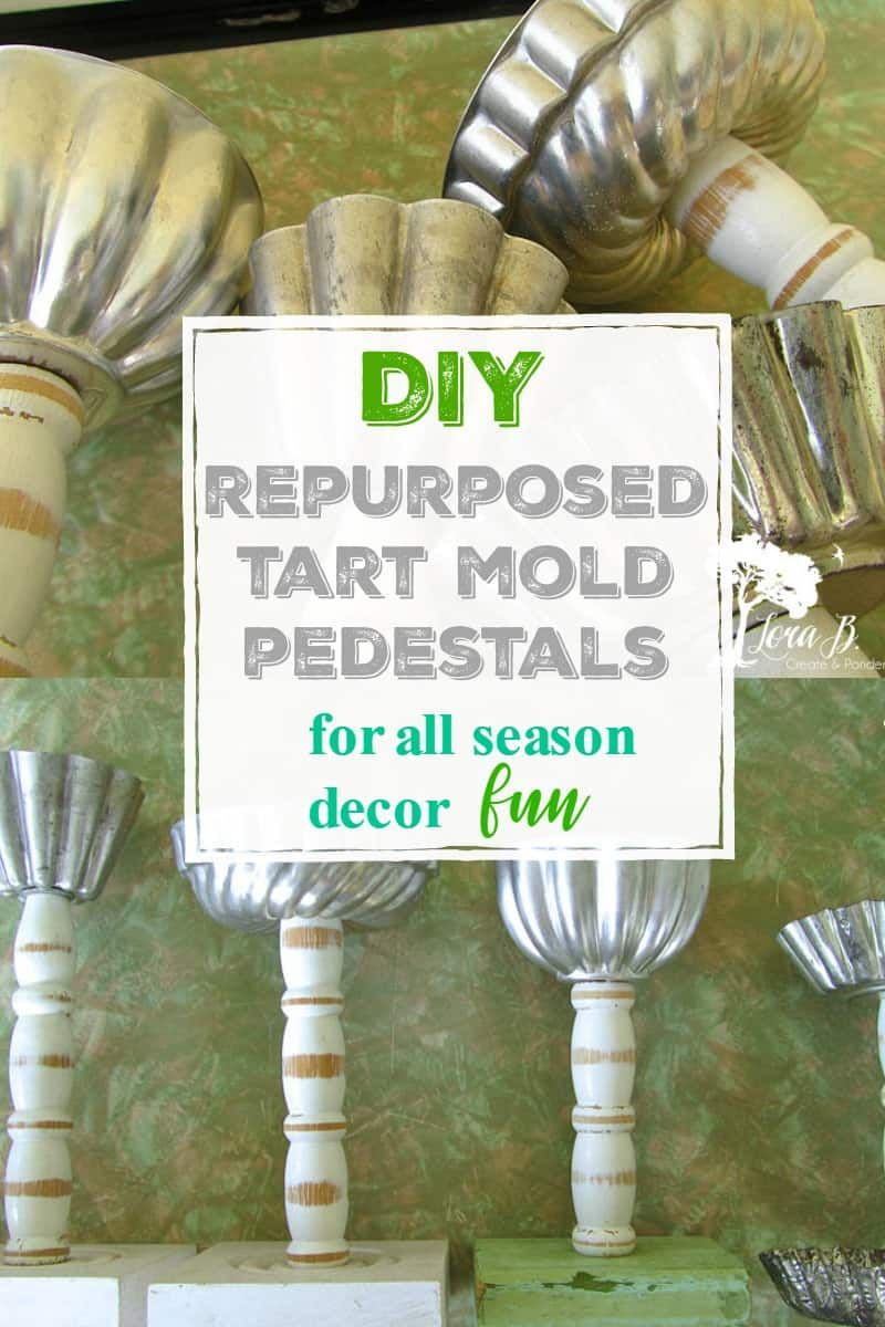 Repurpose vintage tin tart molds for a fun small pedestal you can decorate with throughout the seasons. Whether on tabletop decor, or as a home accent, these little pedestals are fun to decorate with.