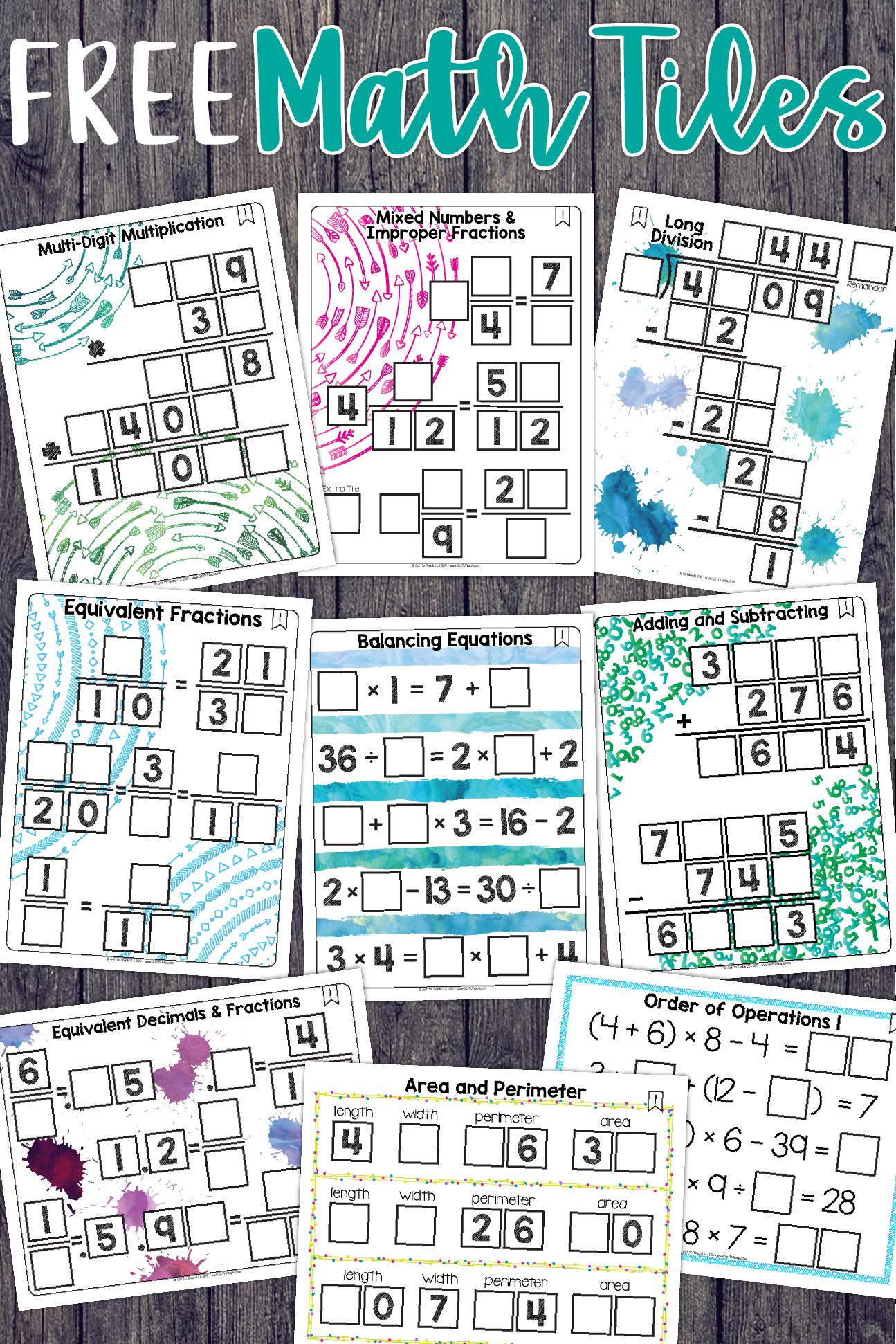 Math Tiles: Freebie | Teacher Thrive Blog | Pinterest | Critical ...