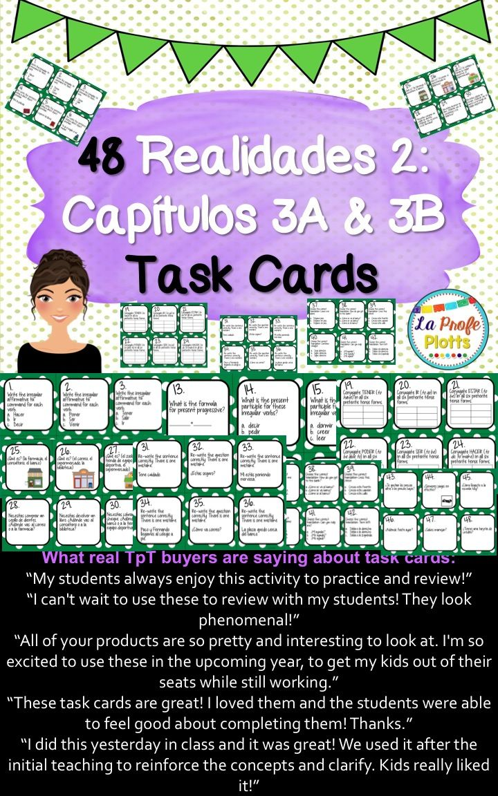 Workbooks realidades worksheets : Spanish Realidades 2: Capítulos 3A & 3B Task Cards | Textbook ...