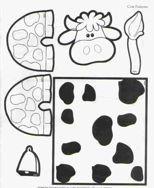 Toilet paper roll cow craft template craft for kids for Toilet roll puppets