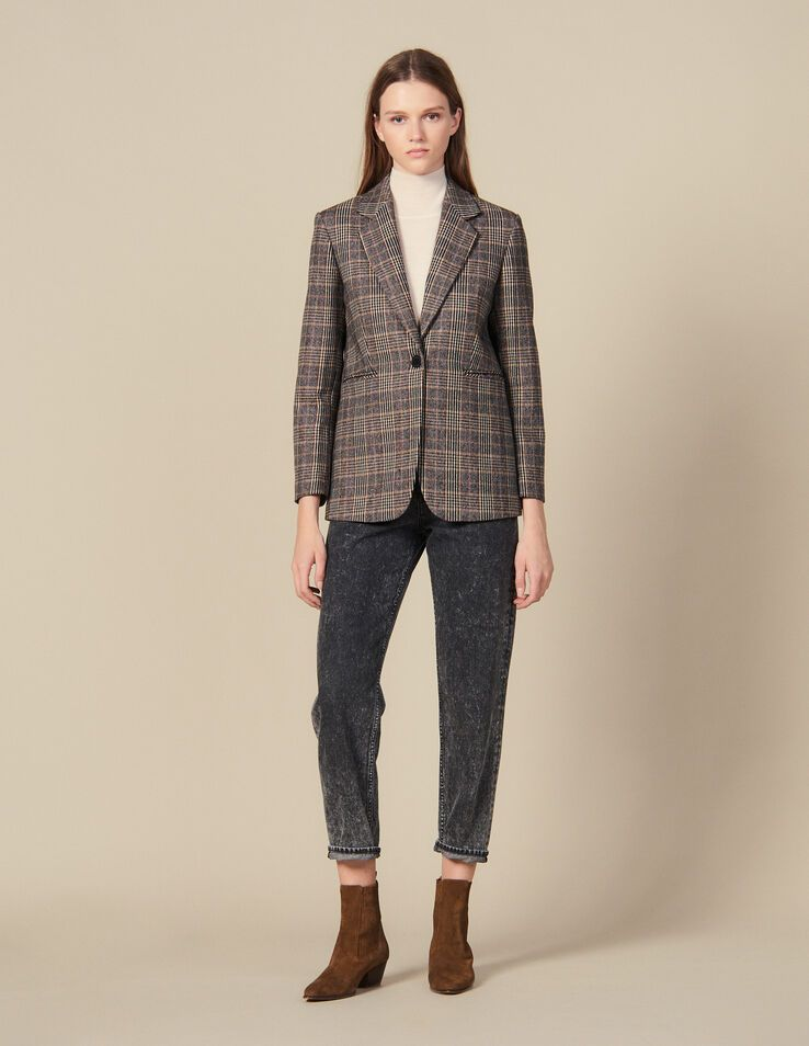 Sandro Checked Wool Blazer