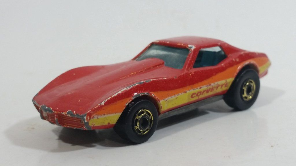 1982 Hot Wheels Gold Hot Ones Corvette Stingray Red Die Cast Toy Car Vehicle Malaysia Toy Car Corvette Stingray Hot Wheels