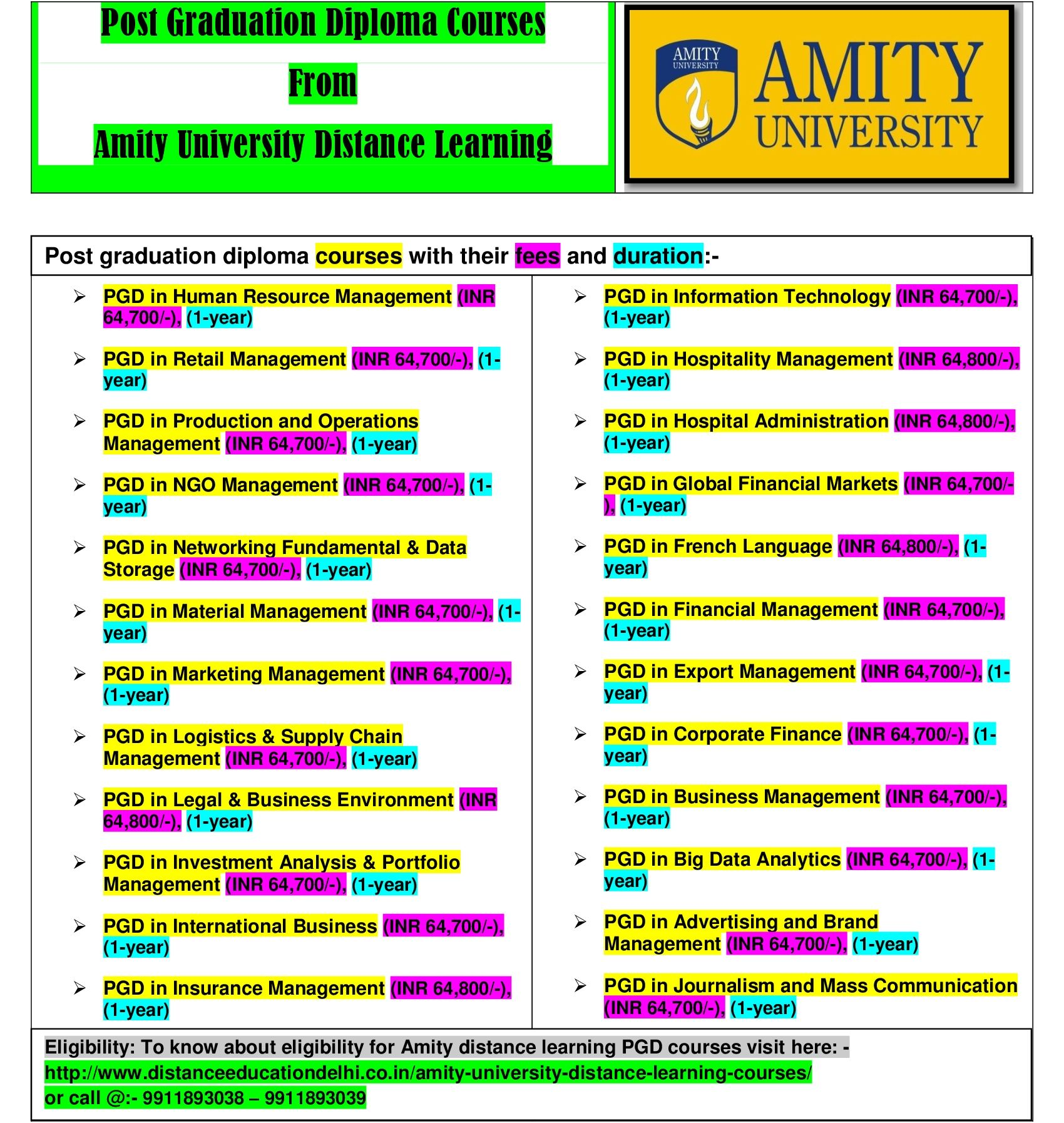 Amity University Distance Learning Offering Several Bachelor S Degree Master S Degree Post Graduate Dipl Amity University Learning Courses Right To Education