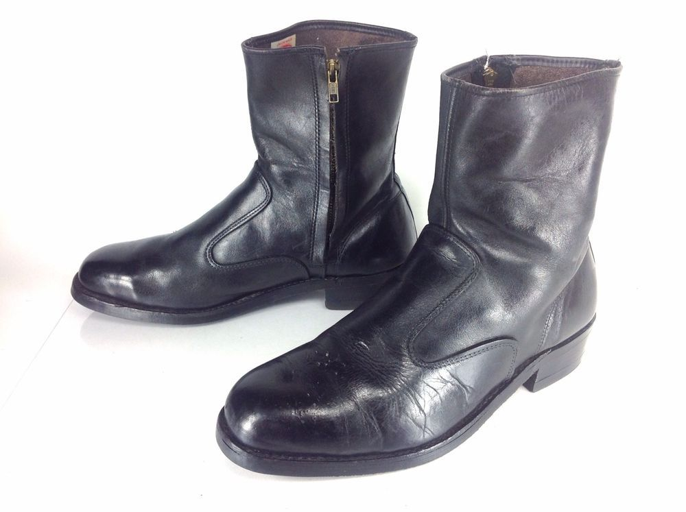 Mens Vintage Iron Age Black Leather Steel Toe Zip Beatle