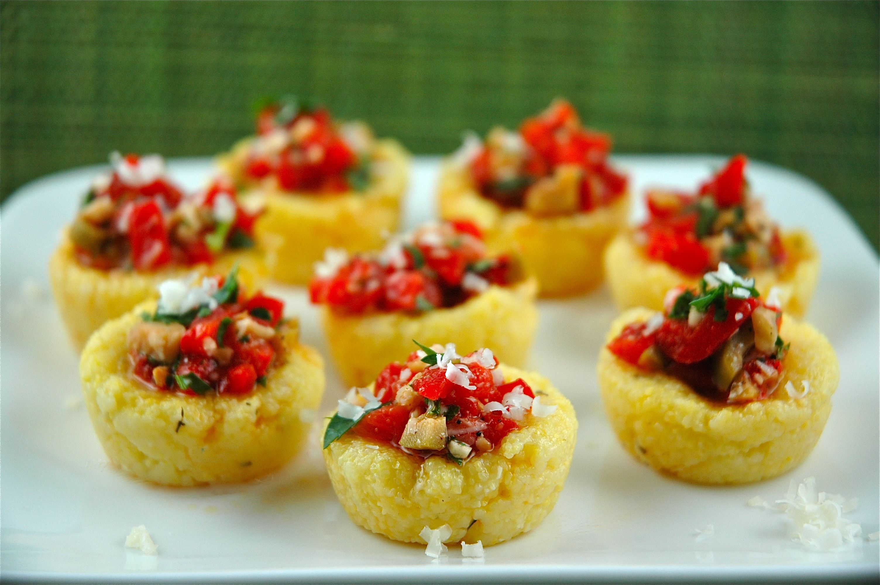 Polenta Cups With Sweet Peppers Manchego And Almonds Recipe Http