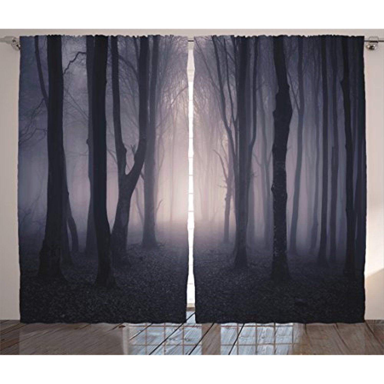 Farm House Decor Curtains By Ambesonne, Path Through Dark Deep