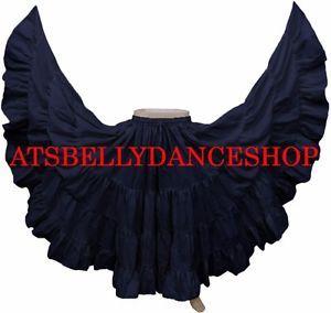 TMS Coffee Satin Full Circle Skirt Belly Dance Tribal Jupe Rock Flamenco Long