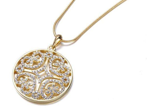 Gold Swarovski Scroll Necklace