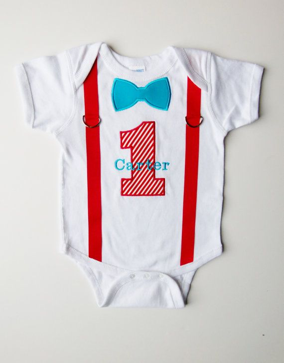 First Birthday Tee Shirt Suspenders Personalized Bow Tie 1 For 1st Boy Dr Suess Colors