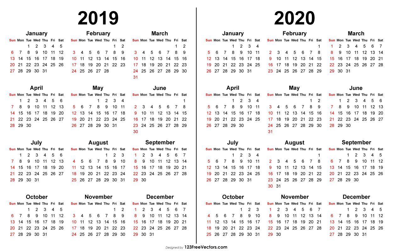 2020 Calendar 2019 Printable.2019 2020 Calendar Printable Yearly Calendar 2019