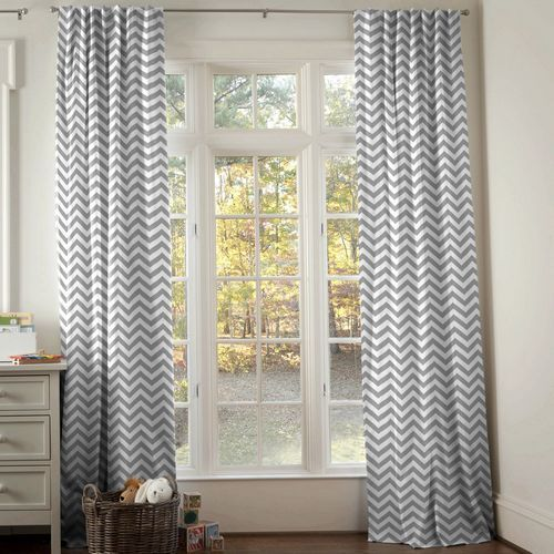 White And Gray Zig Zag Drape Panel Chevron Curtains