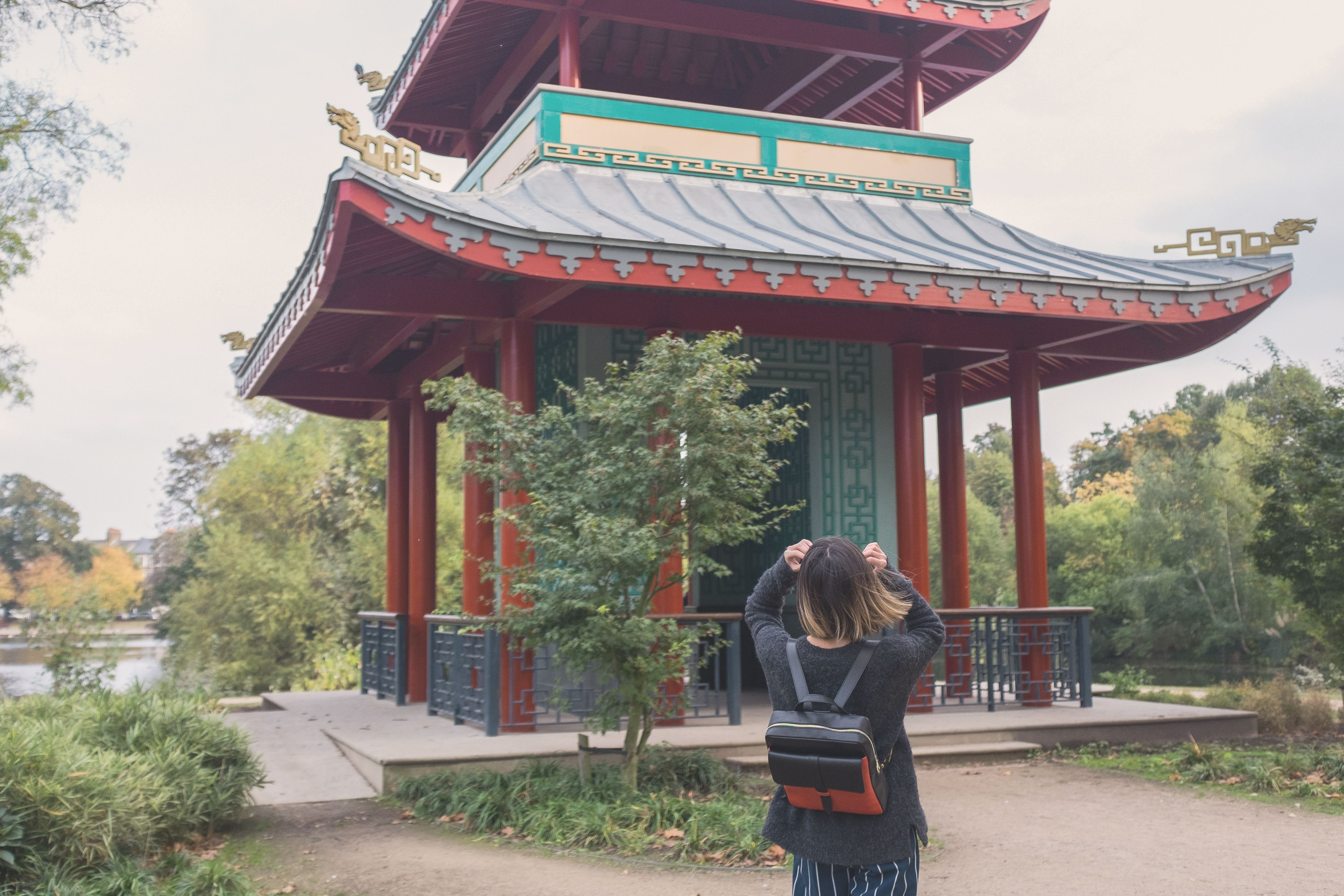 How to celebrate Chinese New Year in London? - blog article by On Slowness @ Pagoda, Victoria Park. Get the black & red Philip Smart leather backpack from Jas MB London: https://goo.gl/BFmFJA