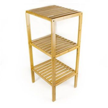 Wooden Bamboo Bathroom Storage 3 Tier Towel Rack Narrow Shelf Unit Ebay