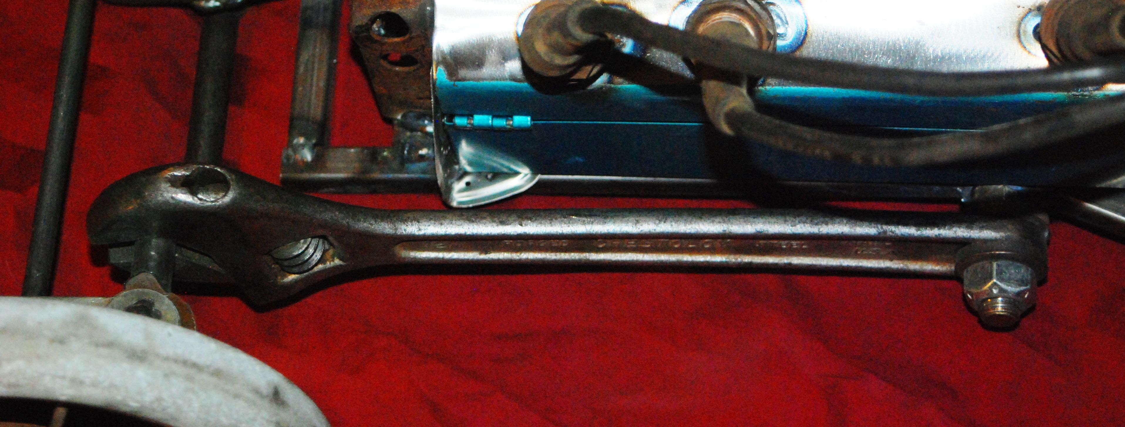 rat rod wagon , cresent wrenches used as radius arms Rat