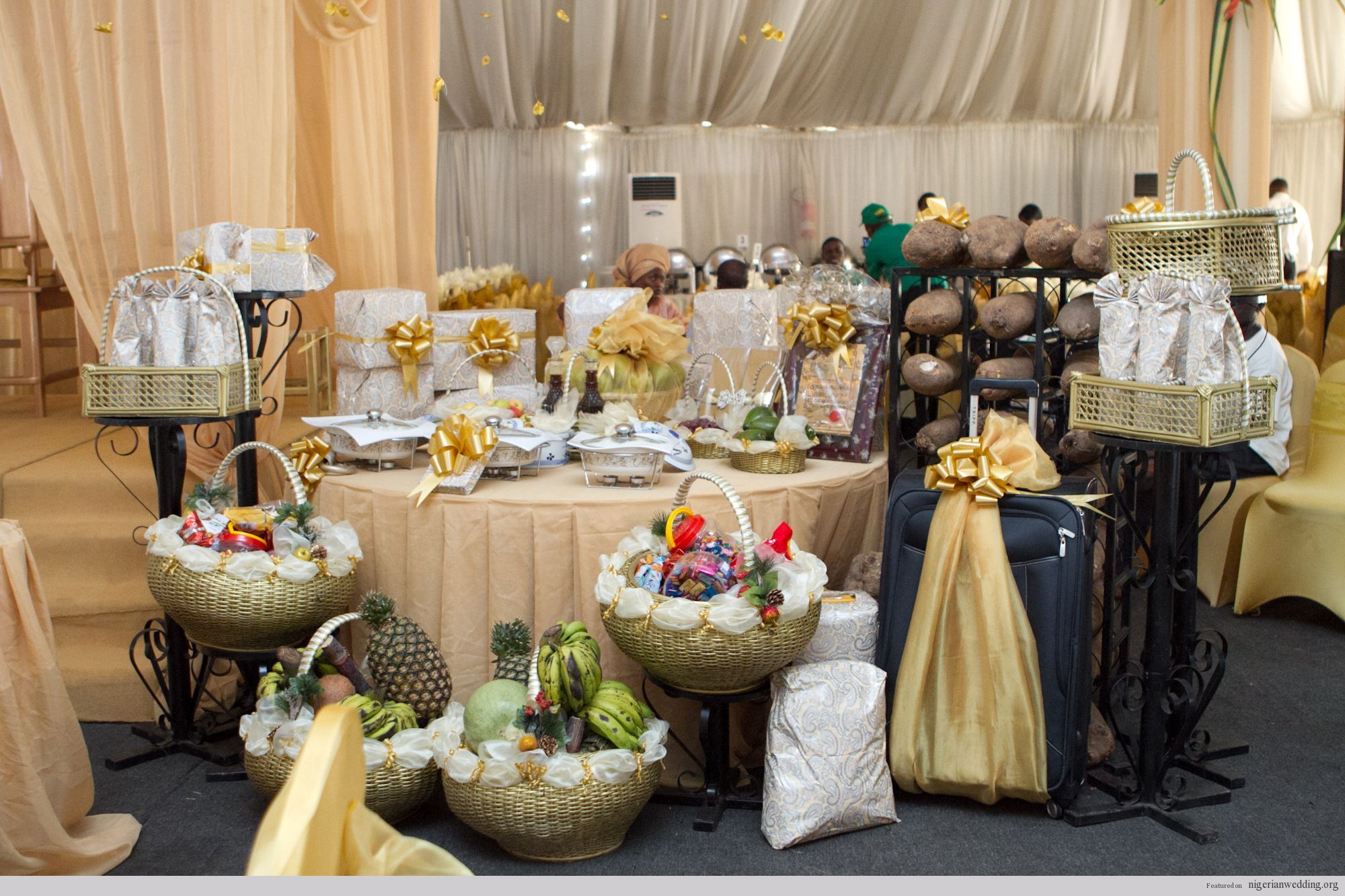 Nigerian wedding stage decoration  Eru Iyawo The Yoruba Traditional Engagement Wedding List  Nigerian