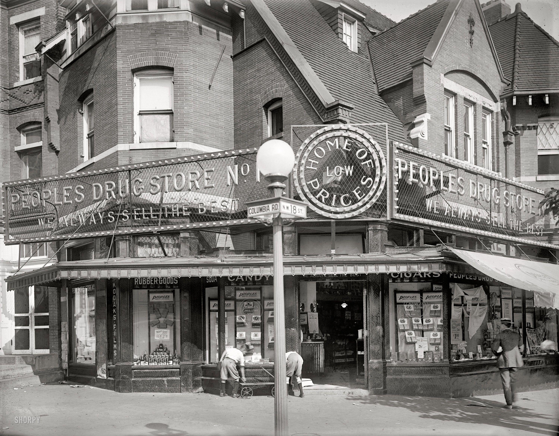 Washington D C Circa 1921 People S Drug Store 18th Street Columbia Road At Store No 10 Window Displays Old Washington Columbia Road Places In America