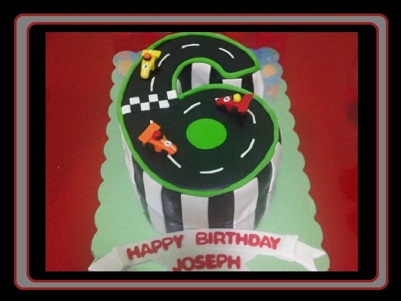 Race Track cake in the shape of the number 6 This was for my