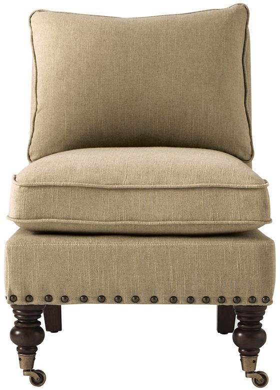 Harrison Armless Chair With Nailheads Accent Chairs Living Room Furniture Homedecorators