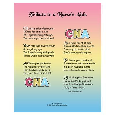 Tribute to a CNA Wall Art | Quotes | Cna nurse, Nursing ...