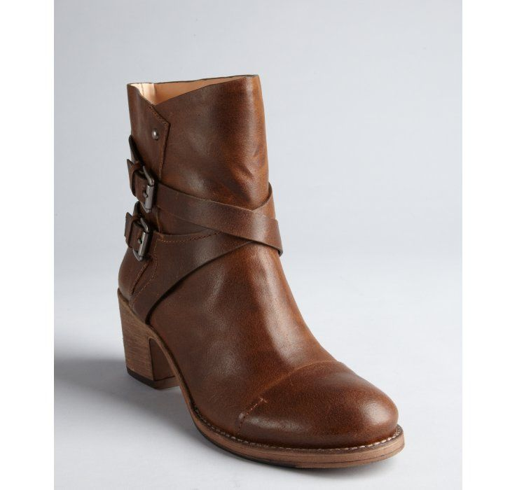 BELLE by Sigerson Morrison camel distressed leather banded Ashlin mid-shaft boots $201, down from $450 at Bluefly. js