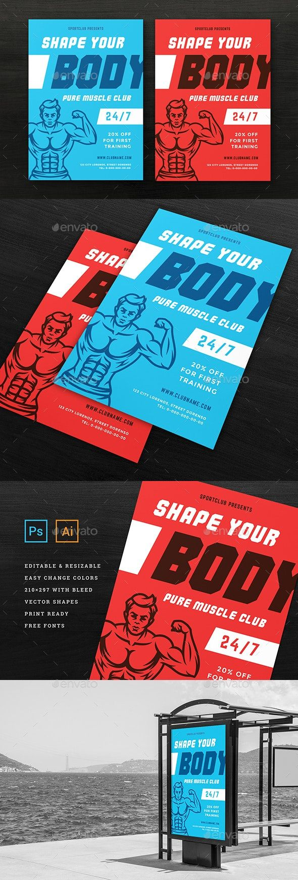 Fitness & Gym Sports Flyer Template #AD #Gym, #Aff, #amp, #Fitness, #Template
