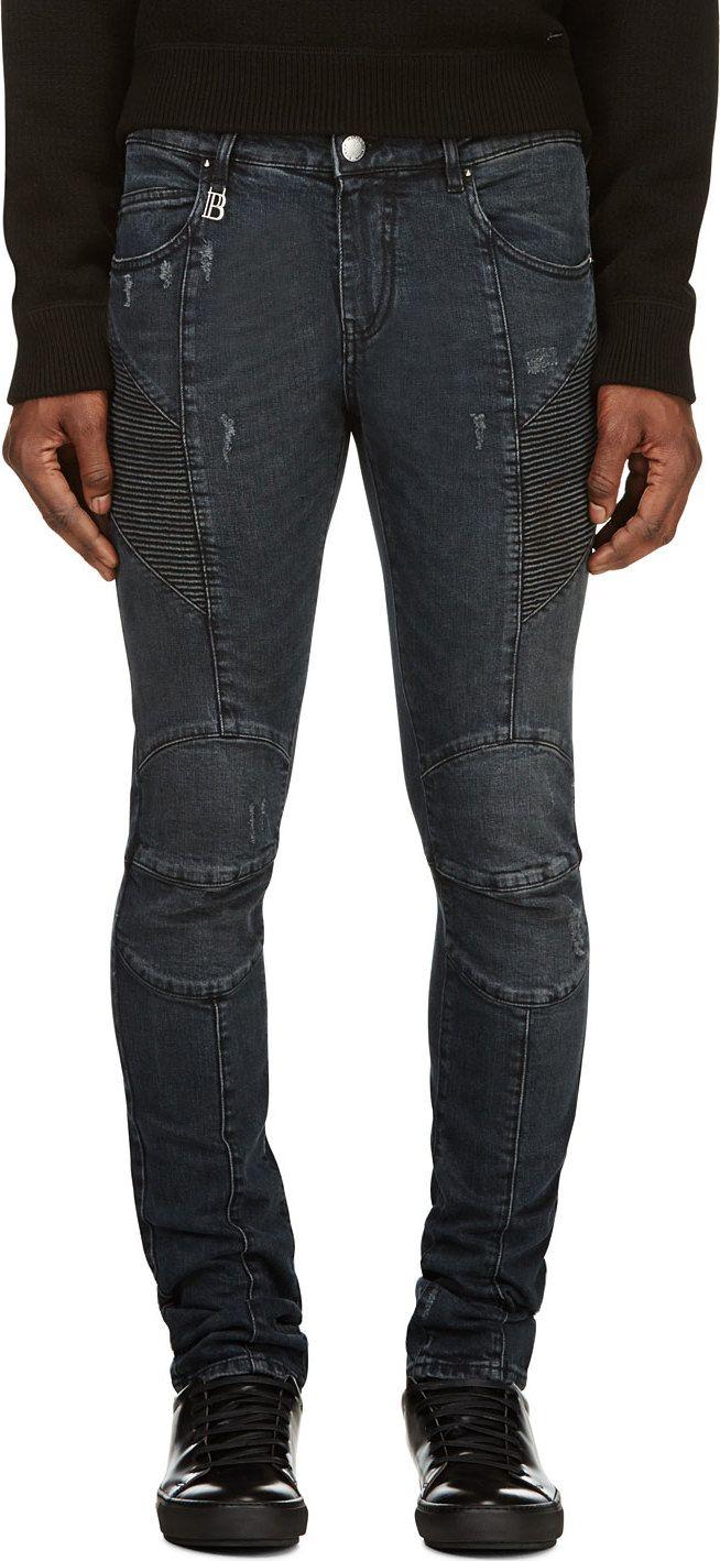 055ceee4a43 Pierre Balmain: Indigo Distressed Moto Skinny Jeans   SSENSE   Men's ...