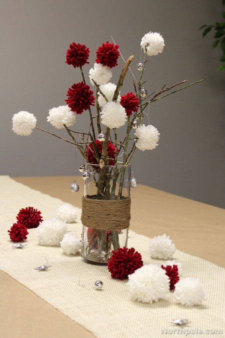 Easy Yarn Pompoms- with the twigs and the twine vase, they look really cool. You could also put fairy lights down the very bottom of the vase to add extra awesome!