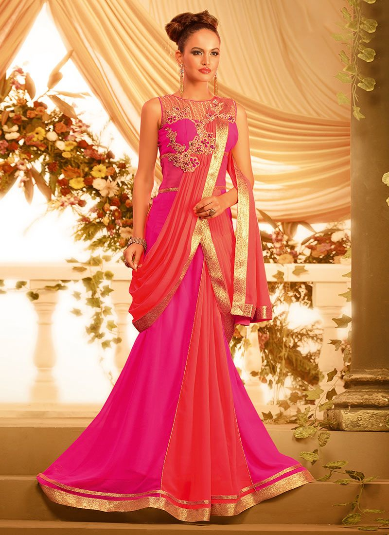 pink indian style gown | Buy Pink Georgette Saree Style Gown ...