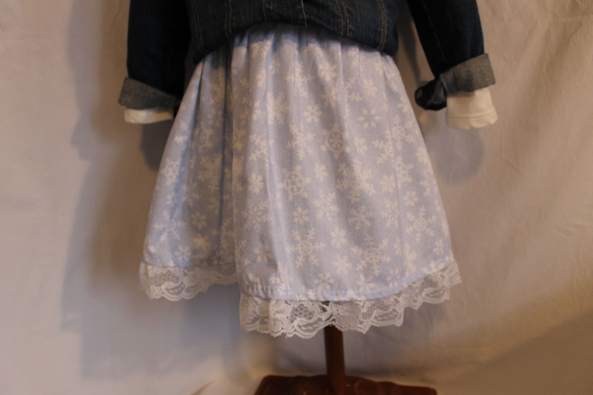 Pale Blue with Snowflakes Girls Twirl Skirt
