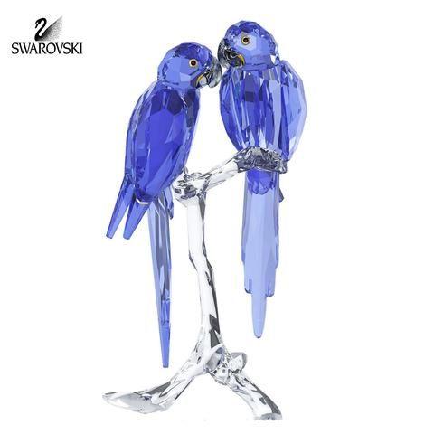 Swarovski Pares de pájaros Figura Cristal Azul loros guacamayo jacinto # 5004730