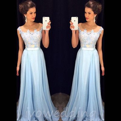 Lace Prom Dresses,Light Sky Blue Prom Dress,Modest Prom Gown,A Line ...