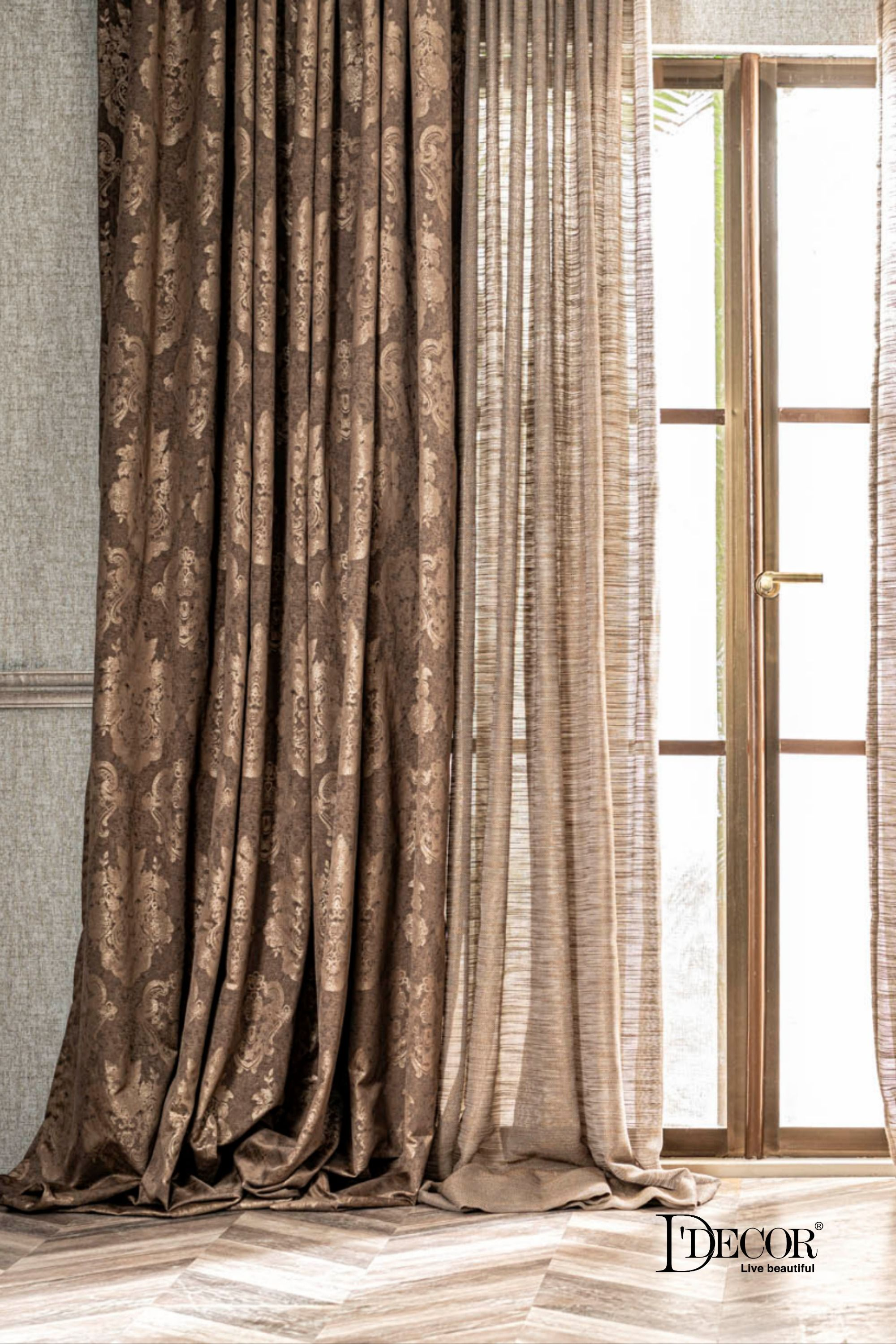 Opulence is a tale of grandeur at its romantic best – a collection of enchanting curtain fabrics detailed with finesse in texture and color. A delicate floral vine intricately woven on a printed backdrop, comes alive in Evince.  #DDecor #DDecorDiaries #Curtains #HomeDecor #StyleExpert #HomeStyling #Breiges #curtains #curtainsonline #windowcurtains #readymadecurtains #CurtainsLivingRoom #CurtainsBedroom #interiors
