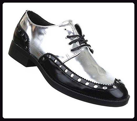 reputable site e50ea 6c535 Damen Halbschuhe Schuhe Schnürer Elegant Schwarz Silber 40 ...