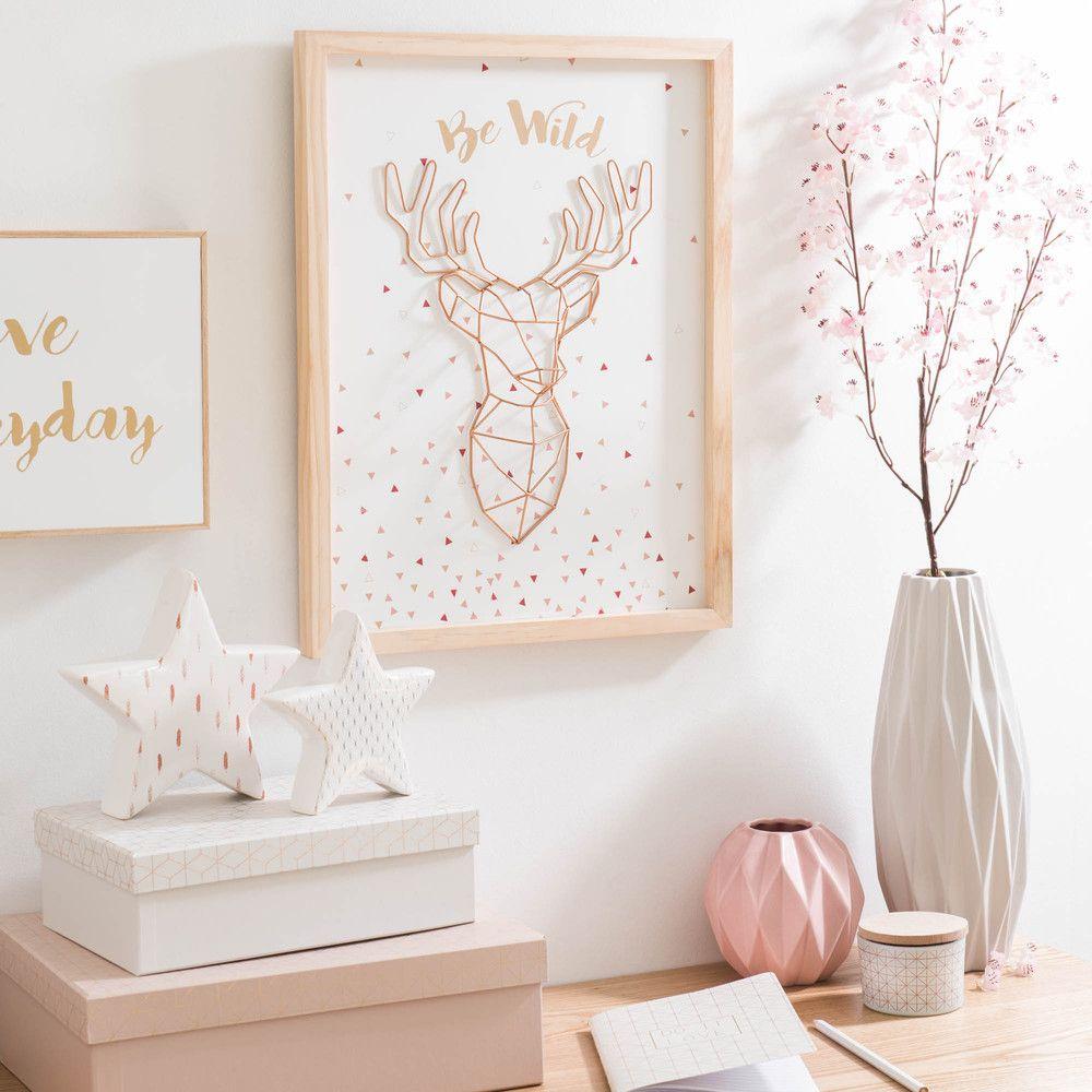 Bild hirschtroph e aus holz 33 x 44 cm deko for Dekoration wohnzimmer kupfer