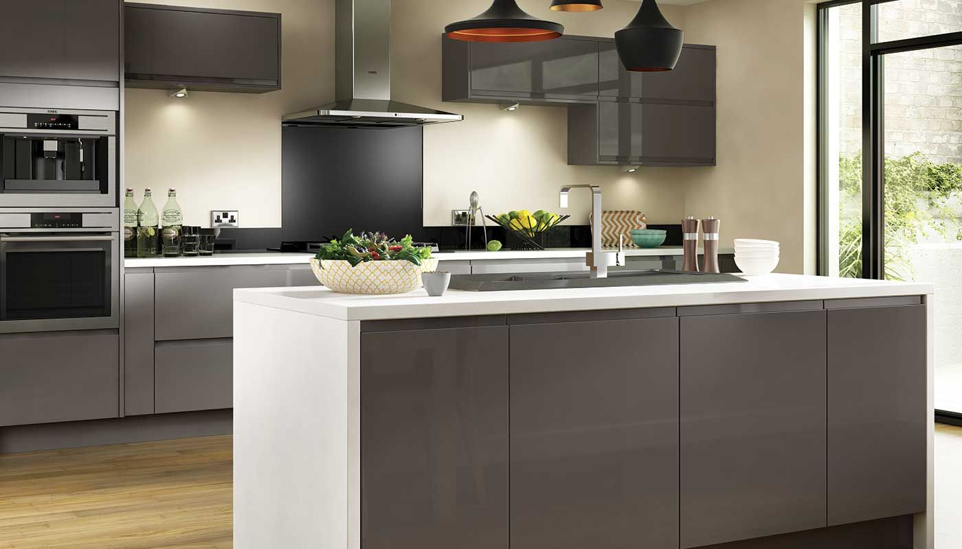 Entertain in style with the stunningly chic holborn gloss for Kitchen units grey gloss