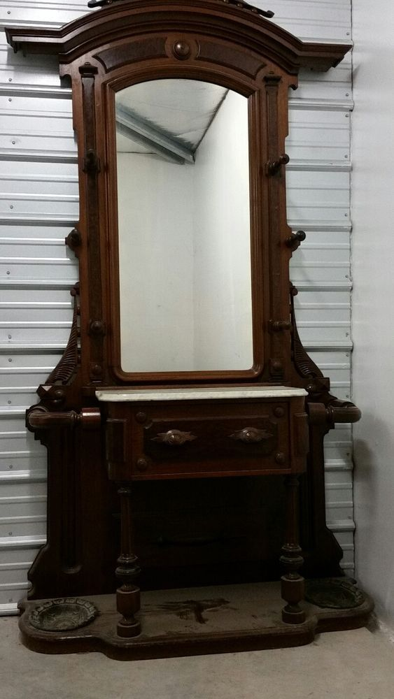 Antique (1800's) Hall/Wall Tree Stand With Mirror Solid Walnut | Antiques,  Furniture, Hall Trees & Stands | eBay! - Antique (1800's) Hall/Wall Tree Stand With Mirror Solid Walnut
