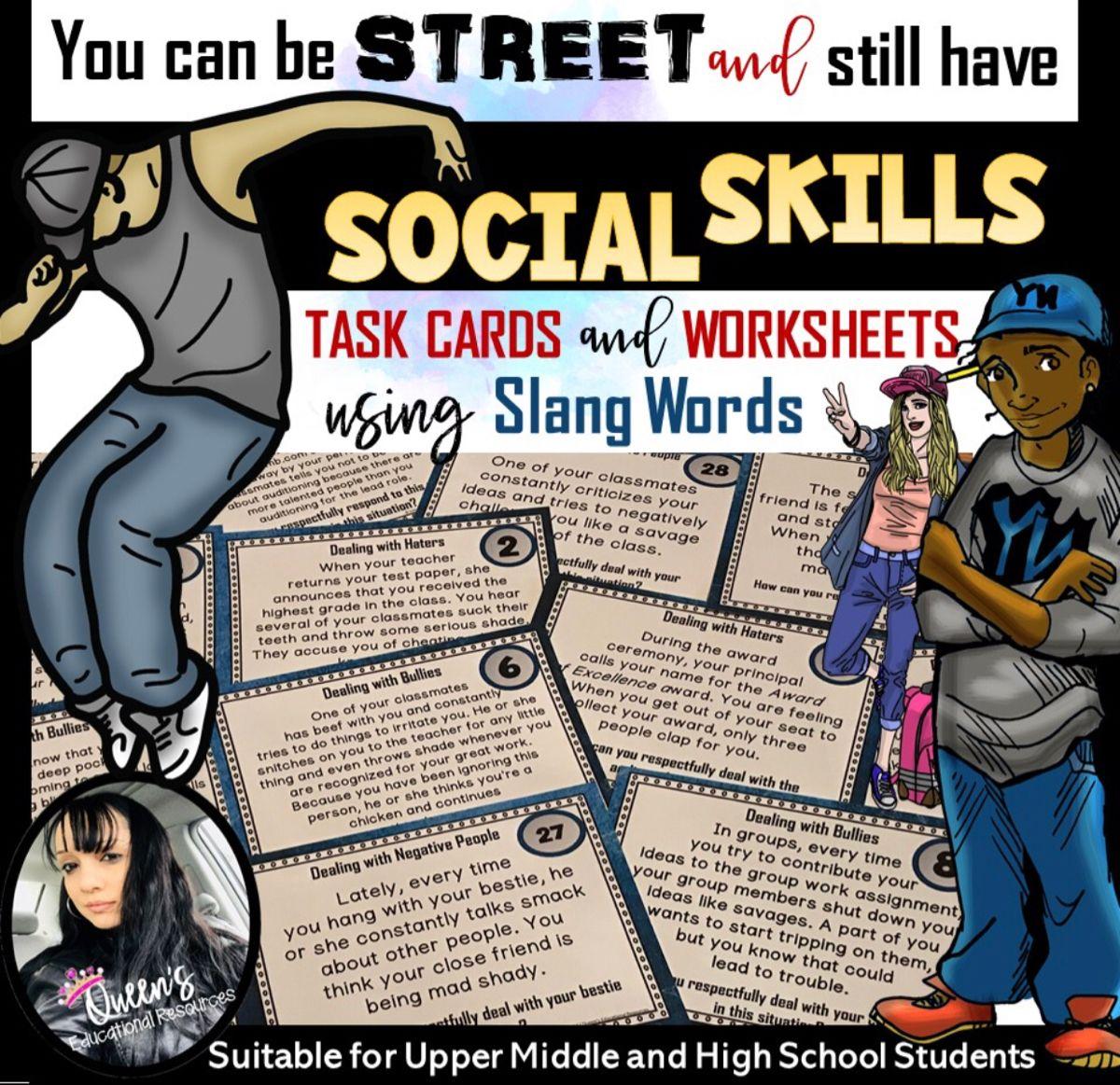 Social Skills Task Cards And Worksheets Using Slang Words