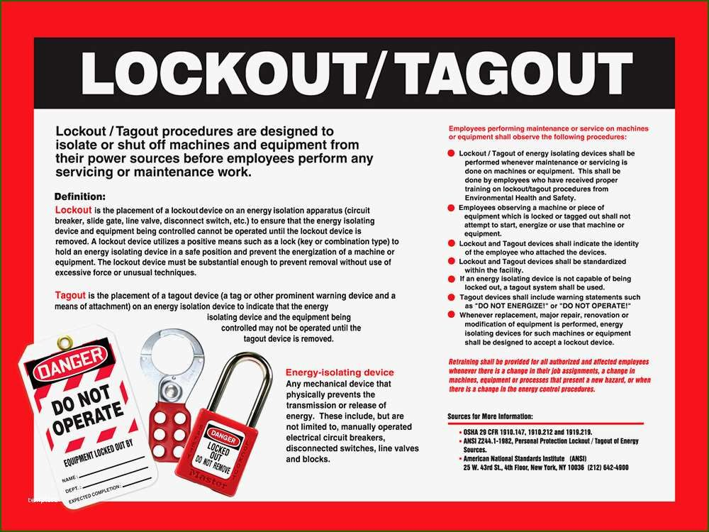 16 Remarkable Lock Out Tag Out Procedures Template Of 2020