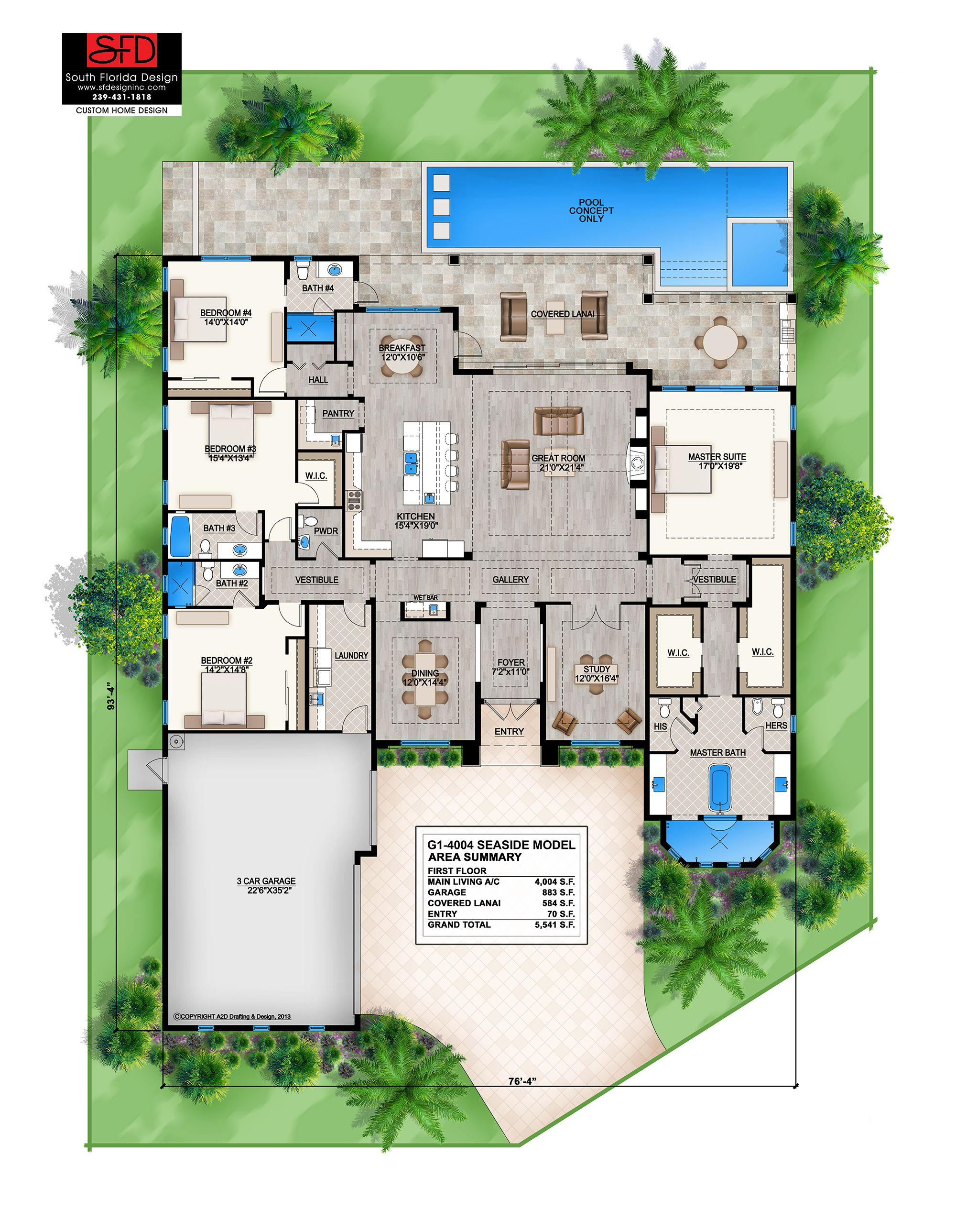 Coastal contemporary 1 floor home design features 4 bedrooms, 4.5 ...