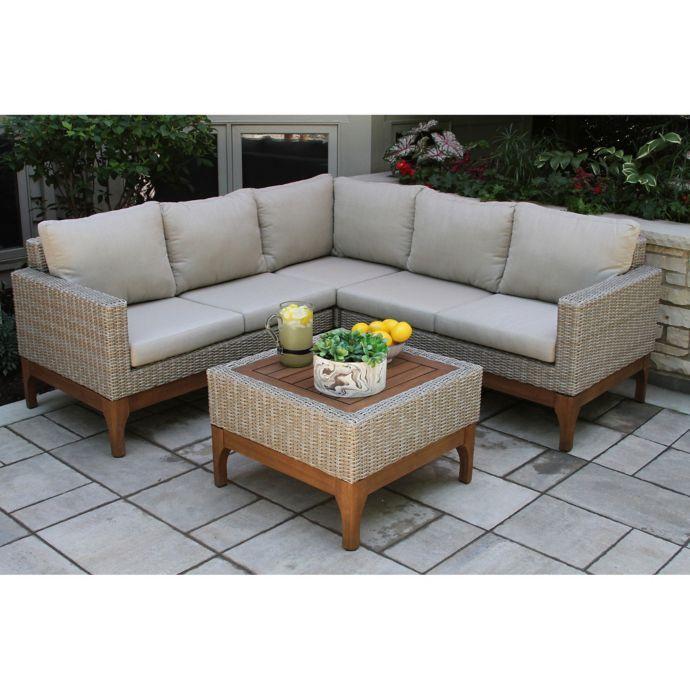 Outdoor Interiors 4 Piece Wicker And Eucalyptus Patio Sectional
