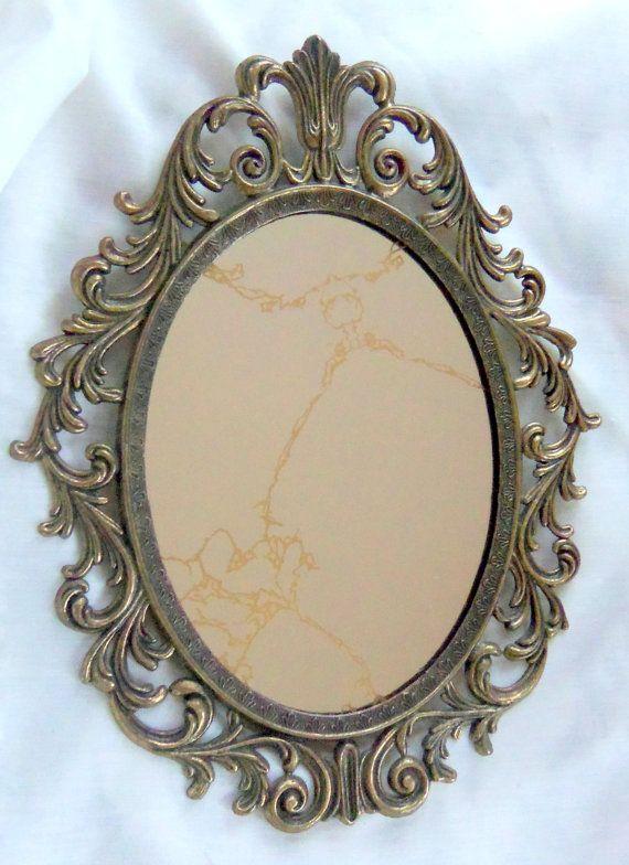 Vintage Oval Mirror Antique Brass Frame Ornate Treasury Item ...