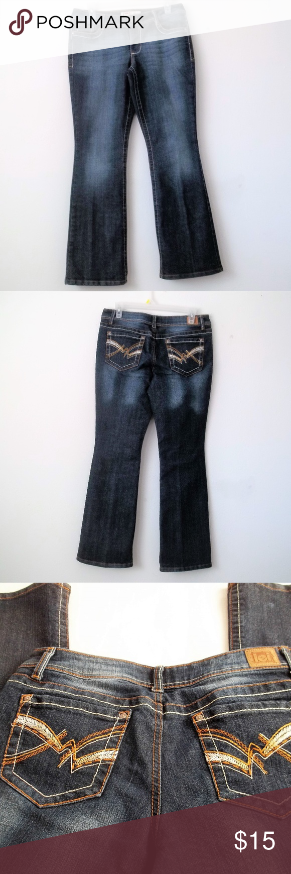 l.e.i Jeans l.e.i Jeans. Size 9 short. 32 inch waist. 38 inches long. 29 inch inseam. front rise 9 inches. back ris…   Jeans and boots. Clothes ...